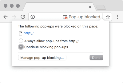 Screenshot of Popup Blocker in Chrome 52 on macOS