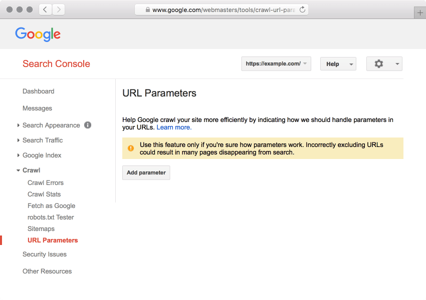 Screenshot of Google Search Console's URL Parameters tool